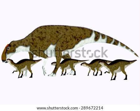 Brachylophosaurus Side Profile - Brachylophosaurus was a herbivorous hadrosaur dinosaur that lived during the Cretaceous Period of Alberta, Canada and Montana, North America. - stock photo