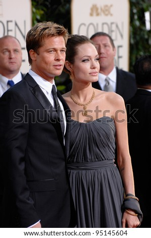 BRAD PIT & ANGELINA JOLIE at the 64th Annual Golden Globe Awards at the Beverly Hilton Hotel. January 15, 2007 Beverly Hills, CA Picture: Paul Smith / Featureflash - stock photo
