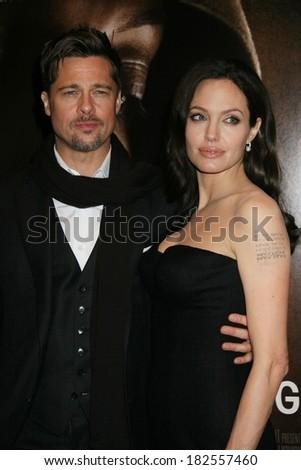 Brad Pitt, Angelina Jolie at THE CHANGELING Premiere at New York Film Festival, The Ziegfeld Theatre, New York, NY, October 04, 2008 - stock photo
