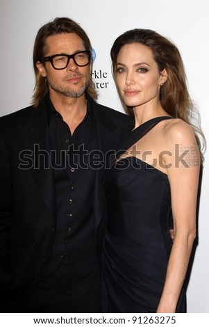 """Brad Pitt, Angelina Jolie at the """"In The Land Of Blood And Honey"""" Los Angeles Premiere, ArcLight Cinemas, Hollywood, CA 12-08-11 - stock photo"""