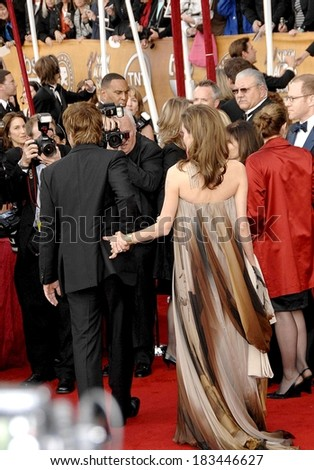 Brad Pitt, Angelina Jolie, in a vintage Hermes dress, at ARRIVALS-44th Annual Screen Actors Guild Awards, SAG, The Shrine Auditorium & Exposition Center, Los Angeles, January 27, 2008