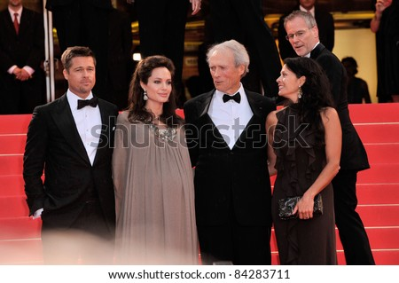 "Brad Pitt & Angelina Jolie with Clint Eastwood & wife Dina Eastwood at the gala premiere of ""Changeling"" at the 61st Annual Cannes Film Festival. 5-20-08 Cannes, France. By: Paul Smith / Featureflash"