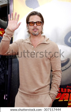 Brad Pitt at the Los Angeles premiere of 'Kung Fu Panda 2' held at the Grauman's Chinese Theater in Hollywood, USA on May 22, 2011. - stock photo