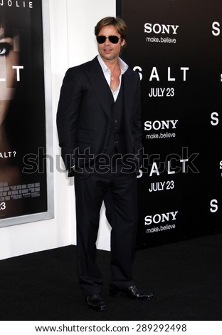 "Brad Pitt at the Los Angeles premiere of 'Salt"" held at the Grauman's Chinese Theatre in Hollywood on July 19, 2010."
