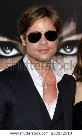 """Brad Pitt at the Los Angeles premiere of 'Salt"""" held at the Grauman's Chinese Theatre in Hollywood on July 19, 2010.  - stock photo"""