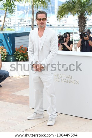 Brad Pitt at the 'The Tree of Life' Photocall,  2011 Cannes Film Festival. 17/05/2011 Picture by: Henry Harris / Featureflash - stock photo