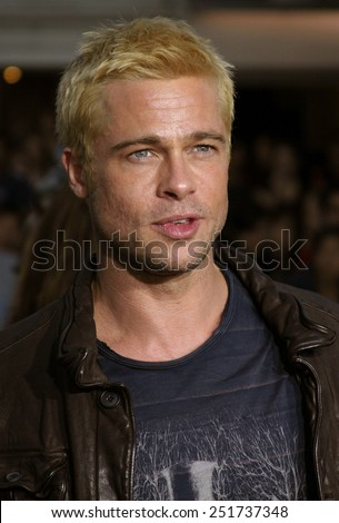 """Brad Pitt attends the Los Angeles Premiere of """"Mr. & Mrs. Smith"""" held at the Mann's Village Theater in Westwood, California on June 7, 2005.  - stock photo"""