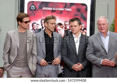 Brad Pitt, George Clooney, Matt Damon, & Jerry Weintraub Handprint & Footprint ceremony For Ocean's Thirteen's at Gruman's Chinese Theater Los Angeles, CA June 5, 2007 - stock photo