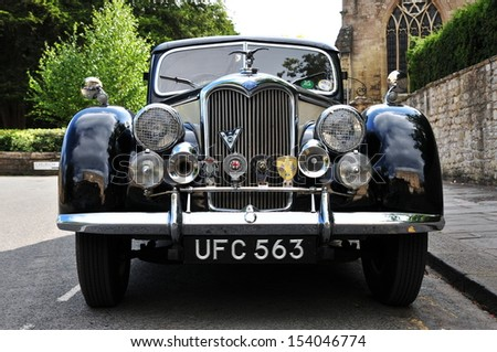 BRADFORD ON AVON - JULY 18: A Riley Motors RM series parked on street on July 18, 2010 in Bradford on Avon, UK. With a top speed of 80mph and 0-60 in 25s the RM series was produce from 1945 to 1957.  - stock photo