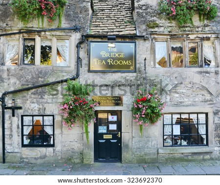 BRADFORD ON AVON - OCT 1: View of the famous Bridge Tea Room in the town centre on Oct 1, 2015 in Bradford on Avon, UK. Founded circa 1675 the tea room is double winner of the UK's Top Tea Place.
