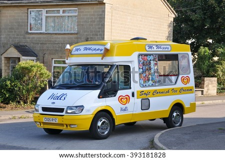BRADFORD ON AVON, UK - AUG 27, 2010: A Mr Whippy ice cream van drives on a street.  - stock photo