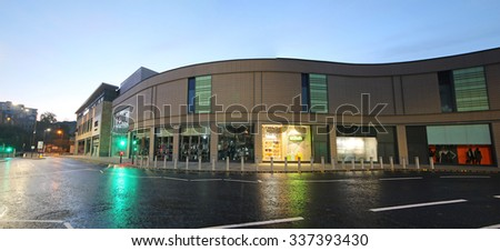 BRADFORD, UK - NOVEMBER 3, 2015: Pedestrianised streets, Bradford, West Yorkshire, UK. Bradford rose to prominence during the 19th century as an international centre of textile manufacture - stock photo