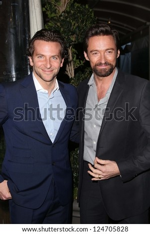 Bradley Cooper, Hugh Jackman at the BAFTA Los Angeles 2013 Awards Season Tea Party, Four Seasons Hotel, Los Angeles, CA 01-12-13 - stock photo