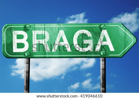 Braga, 3D rendering, a vintage green direction sign - stock photo