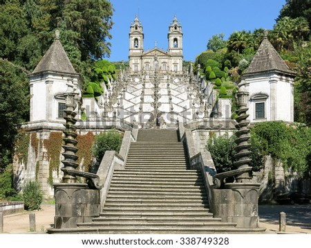 BRAGA, PORTUGAL - AUG 23, 2013: Stairway and church of Bom Jesus do Monte, a Portuguese sanctuary in Tenoes near the city of Braga in Portugal