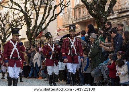 BRAGA, PORTUGAL - December 18, 2016: Braga Christmas Parade, in the streets of the old town of Braga. Portugal