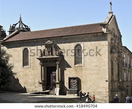BRAGA, PORTUGAL - September 21, 2015: Detail of the Misericordia Church, on September 21, 2015 in Braga, Portugal - stock photo