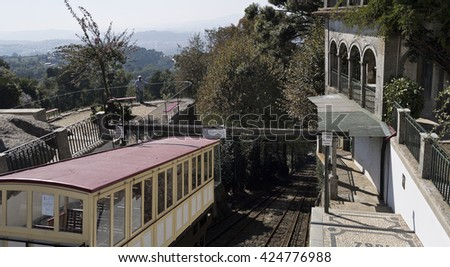 BRAGA, PORTUGAL - September 21, 2015: Inaugurated in 1882, the Bom Jesus do Monte Funicular is the world oldest funicular moved by water counterbalancing, on September 21, 2015 in Braga, Portugal. - stock photo