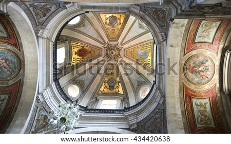 BRAGA, PORTUGAL - September 21, 2015: Inside view of the dome of the Basilica of Bom Jesus on September 21, 2015 in Braga, Portugal