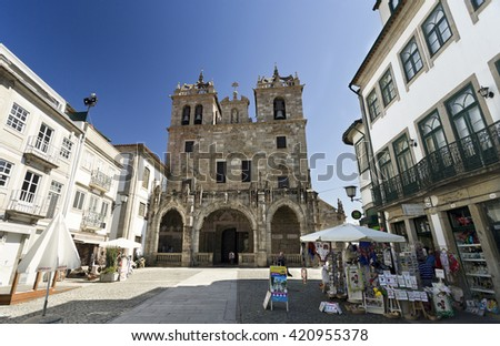 BRAGA, PORTUGAL - September 21, 2015: The Cathedral is one of the oldest churches in the city of Braga, on September 21, 2015 in Braga, Portugal - stock photo