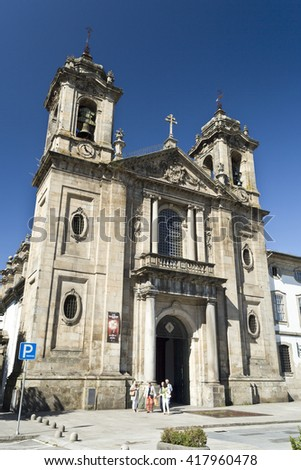 BRAGA, PORTUGAL - September 21, 2015: The Populo Church, the neoclassical church located in Braga, Portugal, on September 21, 2015 . The church was built by the end of the 16th century.  - stock photo