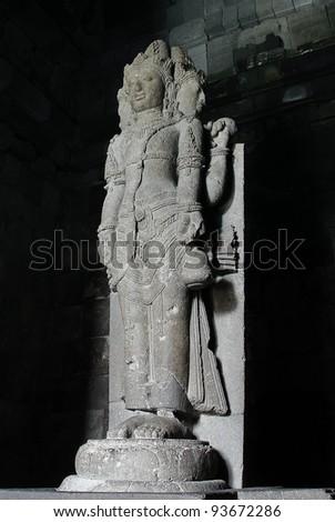 Brahma Statue   Hindu god image in Prambanan temple. Indonesia, Java, Yogyakarta - stock photo