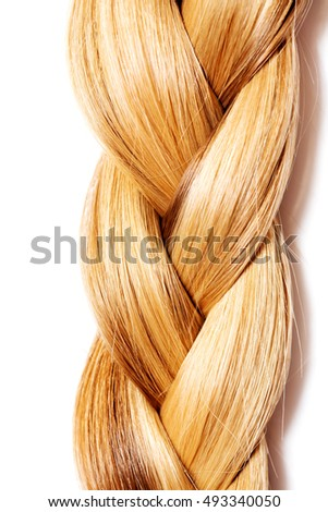 Braid Hairstyle. Blond Long Hair close up.