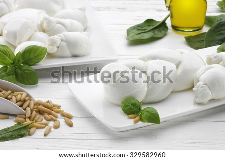 Braid of Mozzarella on a dish with basil, pine nuts, oil and mozzarella nodes on white wooden table. - stock photo