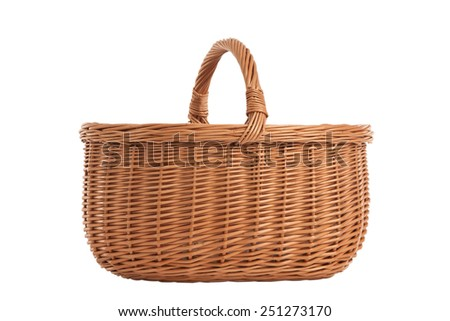 Braided basket wooden handles isolated on white background - stock photo