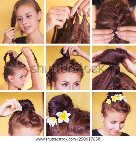 Braided bun updo tutorial - stock photo