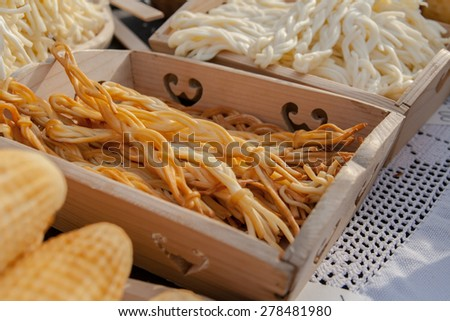 braided cheese on trade - stock photo