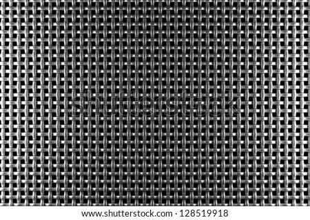 Braided wire steel grid with reflections on black background under the left and right light, abstract textured background - stock photo
