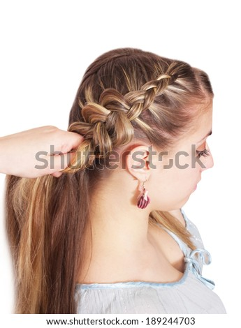 Braiding. French openwork braid.