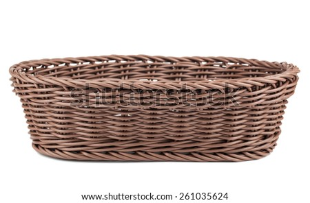 Braiding small wicker basket isolated on white background - stock photo