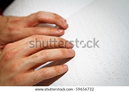 Braille reading - stock photo