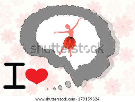 Brain and mind with beautiful girl - stock photo