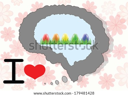 Brain and mind with nice easter eggs - stock photo