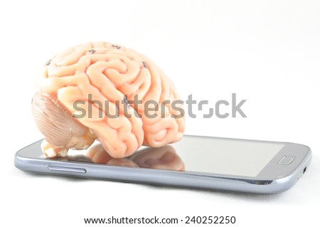 brain and mobile phone - stock photo