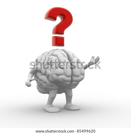 Brain and question mark. 3d render illustration - stock photo