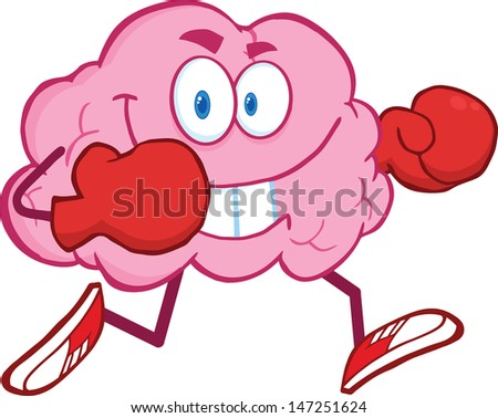 Brain Cartoon Character Running With Boxing Gloves. Vector version also available in gallery - stock photo