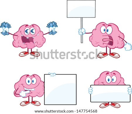Brain Cartoon Mascot Collection 6. Vector version also available in gallery - stock photo