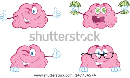 Brain Cartoon Mascot Collection 8. Vector version also available in gallery - stock photo