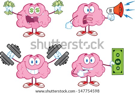Brain Cartoon Mascot Collection 4. Vector version also available in gallery - stock photo