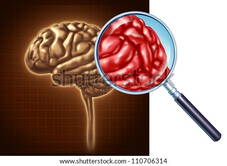 Brain close up with a focus on the neurological activity using a magnifying glass on the human anatomy for memory and neurology and medical science as a health care symbol of mental well being. - stock photo