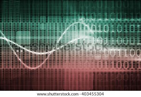 Brain Computer Interface with Square Digital Art Blocks - stock photo