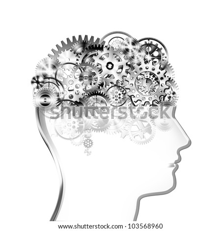 brain design by cogs and gear wheel ,creative concept - stock photo