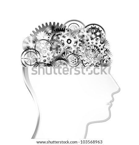 brain design by cogs and gear wheel ,creative concept