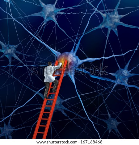 Brain doctor on a red ladder examining the neurons of a human head to heal memory loss or cells due to dementia and other neurological diseases as a mental health metaphor for medical research hope. - stock photo