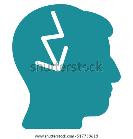 Brain Electric Strike glyph icon. Style is flat graphic symbol, soft blue color, white background.