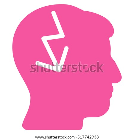Brain Electric Strike glyph pictogram. Style is flat graphic symbol, pink color, white background.